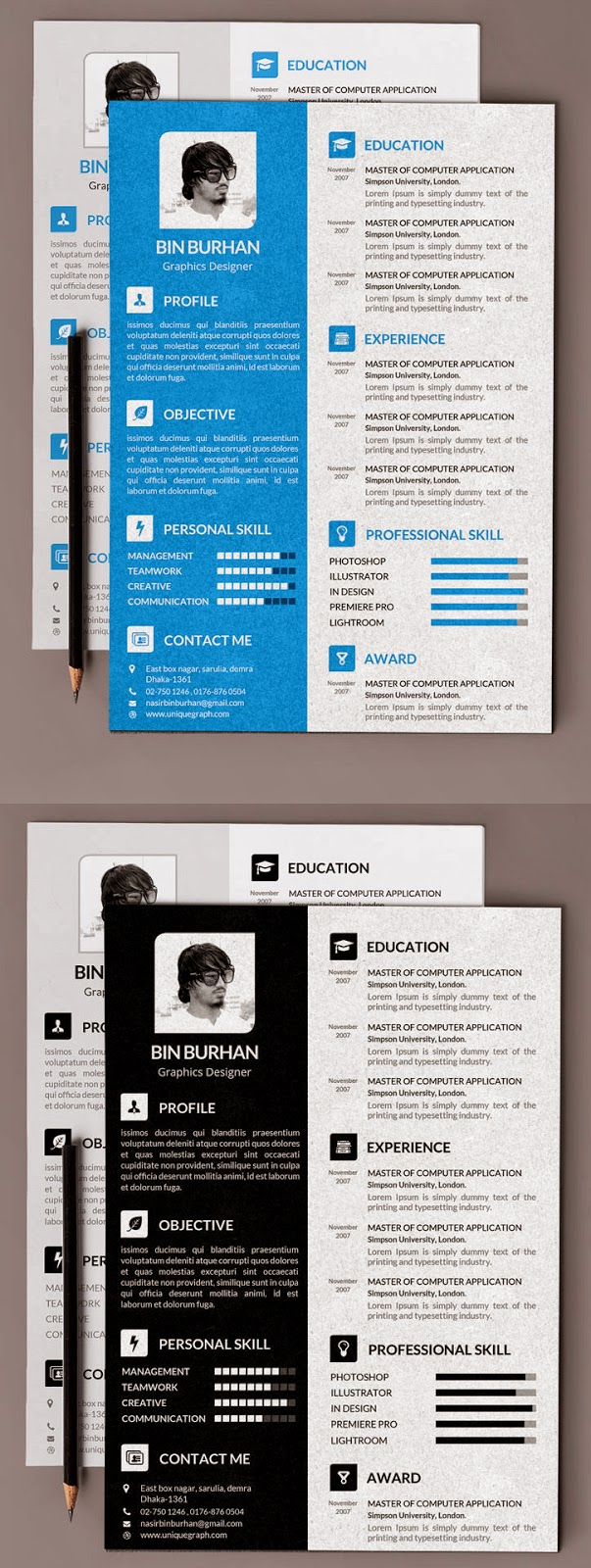 Free Resume Template with Cover Latter