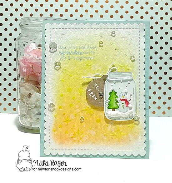 Snowman Jar Card by Naki Rager | Snow Globe Scenes and Lovely Blooms Stamp Sets by Newton's Nook Designs #newtonsnook #handmade