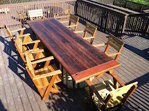 Mathew Isaac' Woodworks Salvaged Redwood Patio Furniture