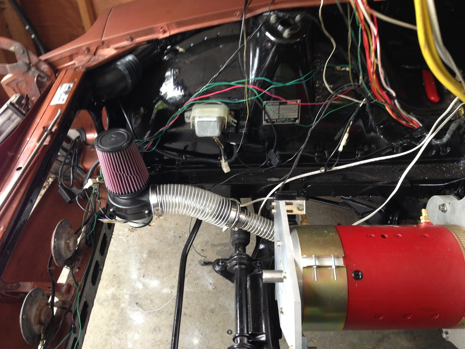 A 240z Becomes An Ev 2013 Electrical Wiring Drag Race As Well Some Thermal Protection For Racing This Blower System Consists Of Marine Bilge Shroud Designed Specifically The Motor