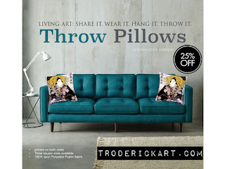 25% off throw pillows by troderickart.com
