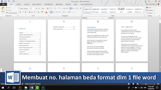 Cara membuat nomor halaman romawi dan latin dalam 1 file word