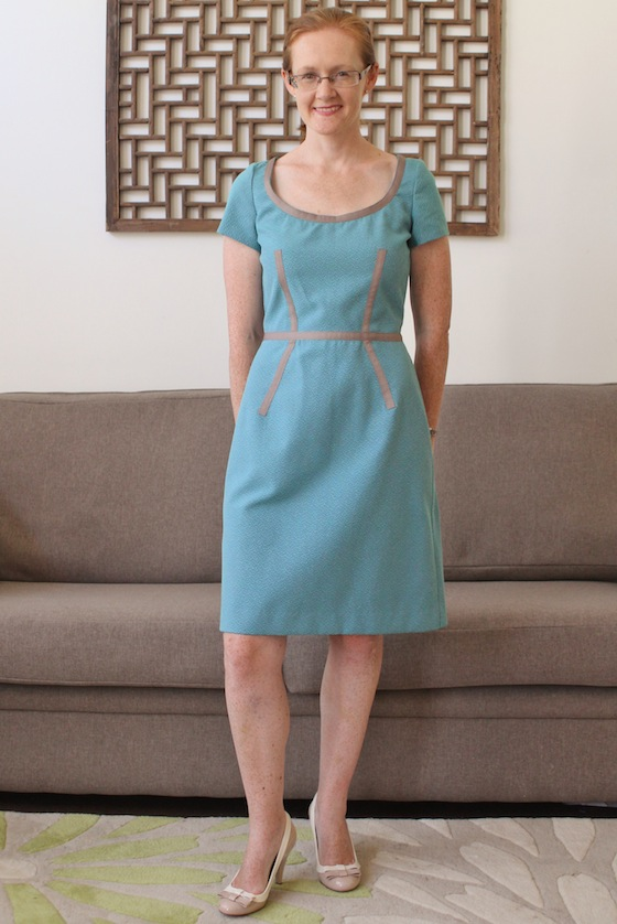 Burda 3/2013 #110 blue dress with ribbons www.loweryourpresserfoot.blogspot.com