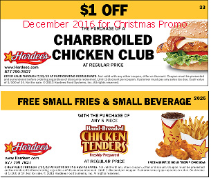 Hardees coupons for december 2016