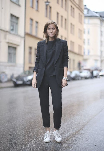 all black office look