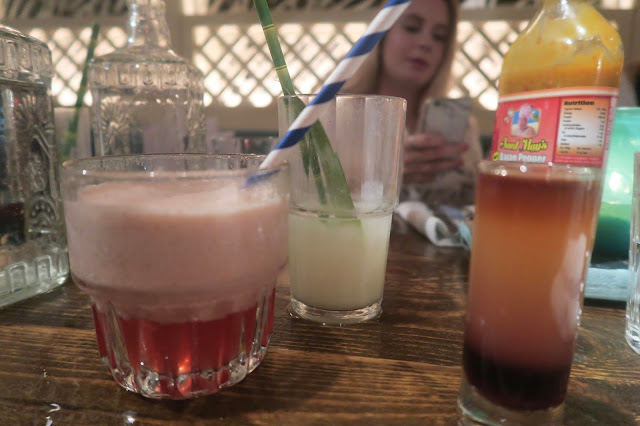 Turtle Bay frozen strawberry daiquiri, koko kolada and firewater shooter