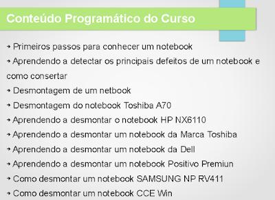 Conteúdo programático do curso online de manutenção de notebook
