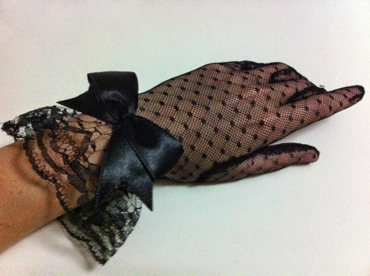 siyah puantiyeli tül eldiven nikah eldiveni