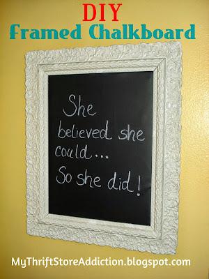 DIY Vintage Framed Chalkboard  mythriftstoreaddiction.blogspot.com  World Market knock off created with vintage thrift store frame and chalkboard fabric!