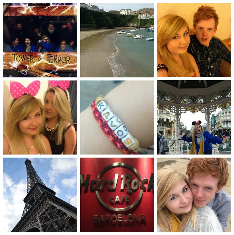 a collage of some of the amazing trips I took in 2013, including a trip to paris, a trip to disneyland paris, a girls holiday in Kavos, a couples break to spain, and a family holiday to cornwall