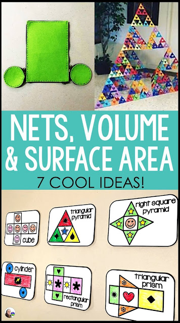 Are you looking for visual, hands-on and interactive ideas for teaching nets, surface area and volume? In this post are some cool ideas, a jazzy video, math word wall references (one of them is a free math word wall for volume and surface area!) and a couple math pennant activities