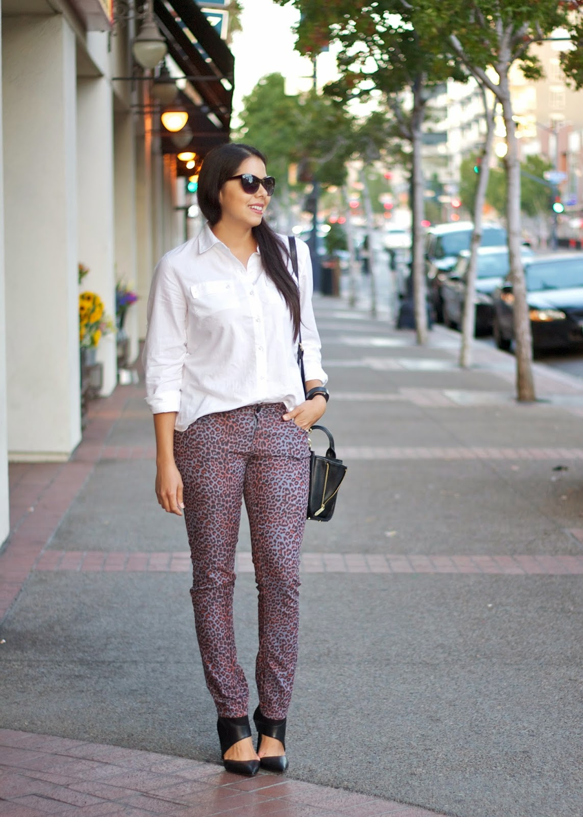 Leopard Skinny Jeans, Tommy Hilfiger ROLL-SLEEVE LINEN SHIRT, san diego fashion blogger, downtown san diego street style, downtown street style