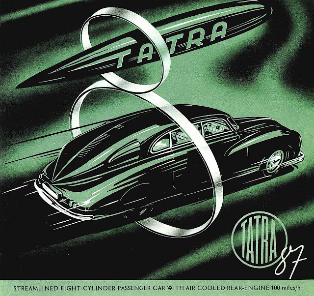 a 1940s Tatra 87 advertising illustration