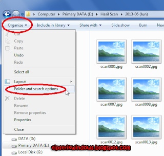 masuk ke menu Folder and search options