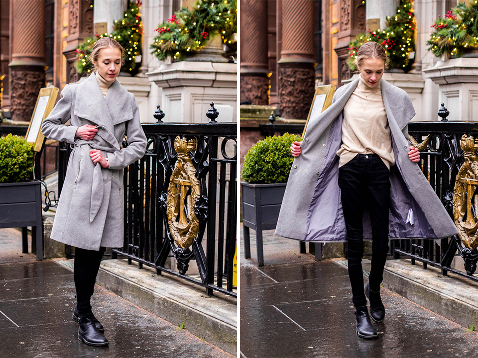 How to wear a grey wool coat, winter 2019 - Kuinka pukea harmaa villakangastakki, talvi 2019