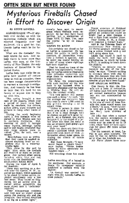 Mysterious Fireballs Chased in Effort To Discover Origin - The Idaho Press-Tribune 8-25-1955