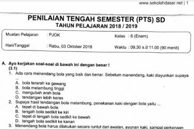 Soal Ulangan PTS PJOK Kelas 6 Semester 1 K-13