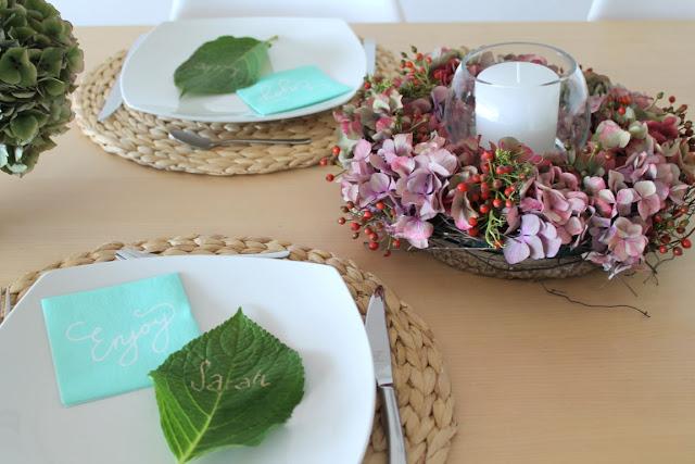 DIY Tischdekoration Hortensien im Haus Jules kleines Freudenhaus