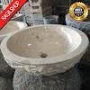 Wastafel marmer tulungagung bulat motif pahat asli batu alam diameter 40 cm