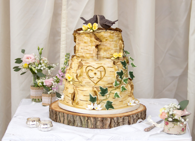 Bark themed wedding cake