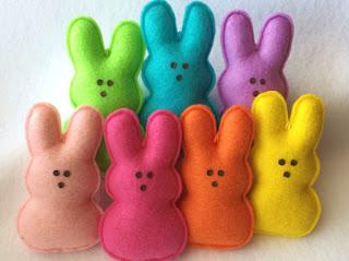 rainbow and colorful felt peeps easter bunny decorations from etsy