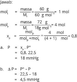 cara menghitung penurunan tekanan uap larutan
