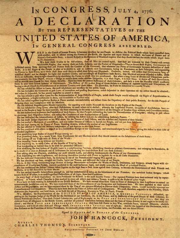 Slavery verses the declaration of independence in united states of america