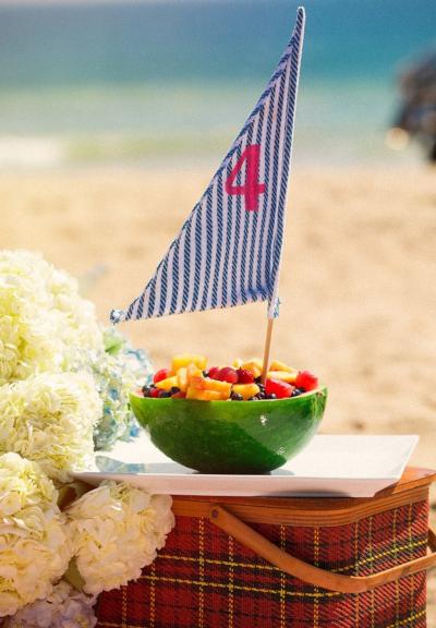 4th of July Melon Sailboat Idea