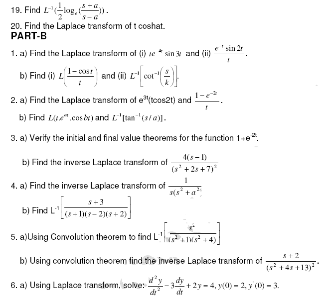 Important Questions for Laplace Transforms