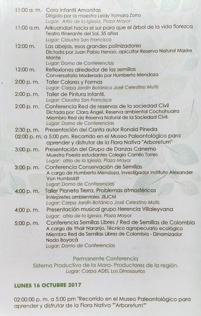 Programación Festival del árbol de Villa de Leyva - 2017