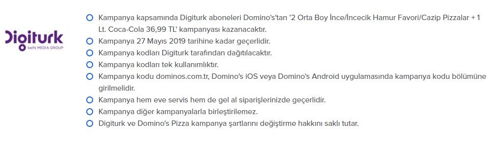 dominos pizza digitürk kampanya ve promosyonları