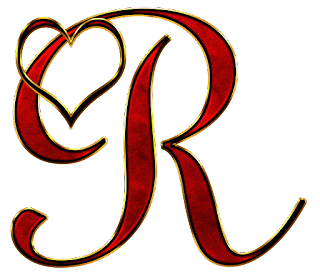 Alfabeto Rojo con Dorado y Corazón.