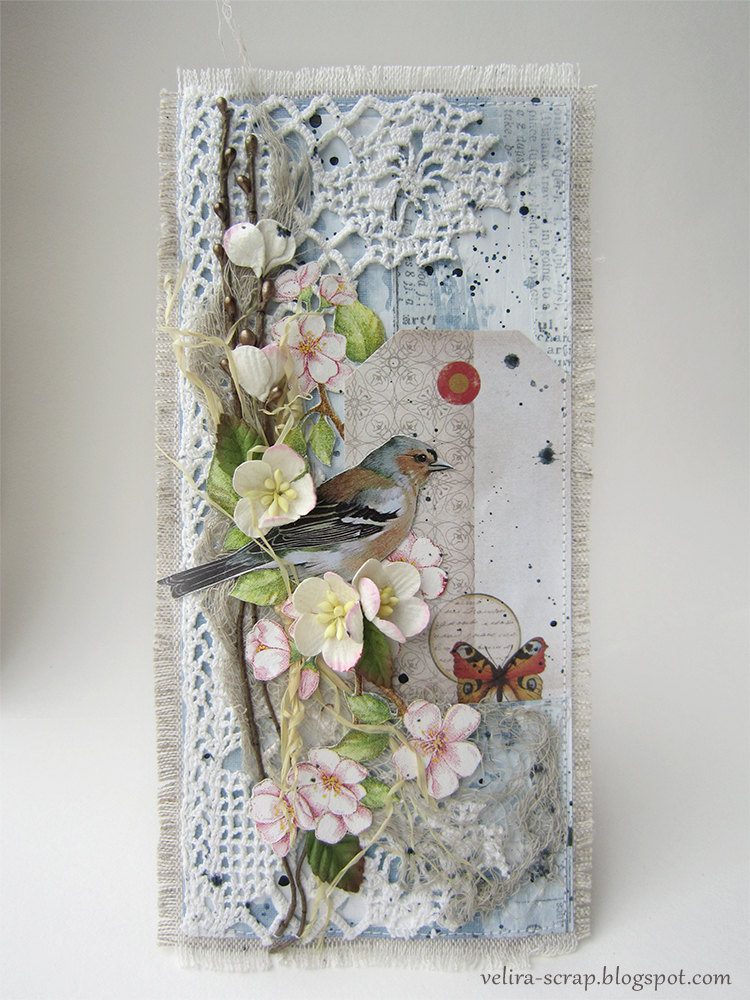 Пусть, скрапбукинг открытка с птичкой