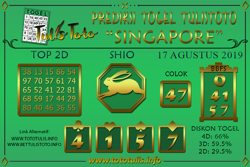 Prediksi Togel SINGAPORE TULISTOTO 17 AGUSTUS 2019
