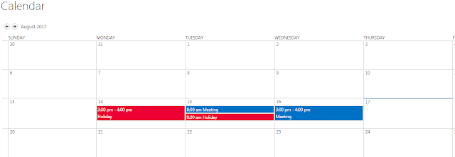 Calendar with overlay and default view modified
