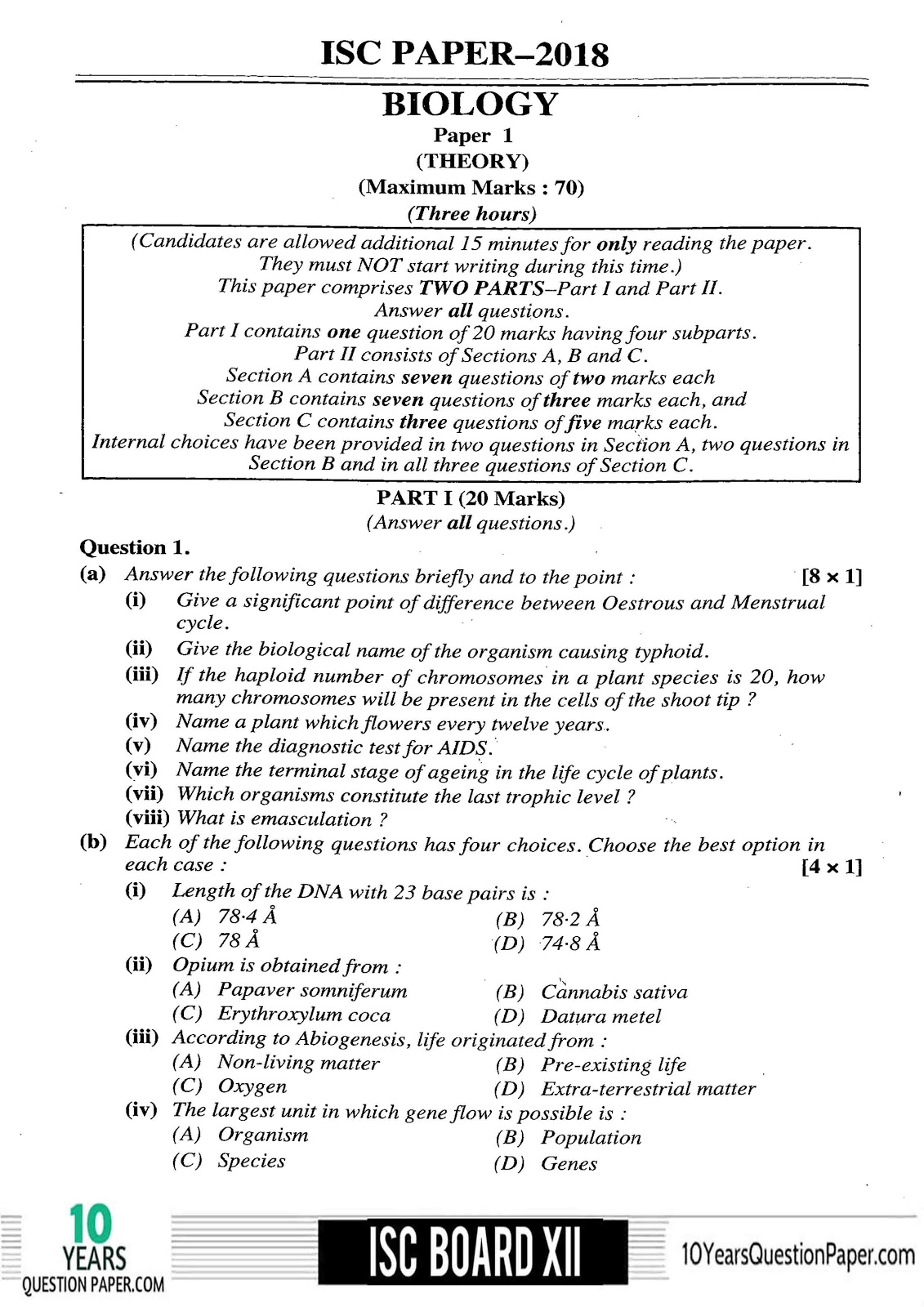 ISC Biology 2018 Solved Previous Year Paper Class 12 Page-01