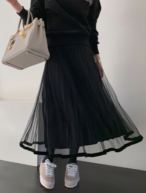 Sheer Layer Pleat Skirt