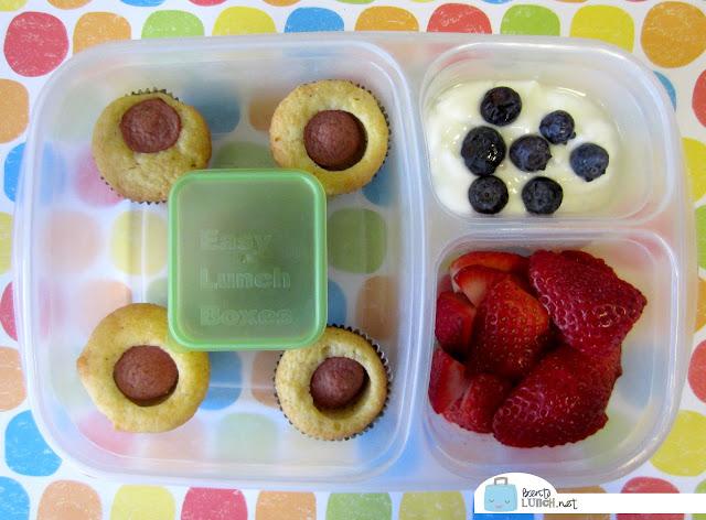 BentoLunch.net - Make Ahead Bento Lunches, Day 2, Mini Corndog Muffins, Greek Yogurt, and Strawberries