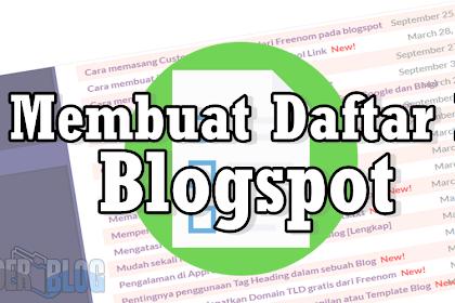 Cara Membuat Daftar Isi Blog Model Tab