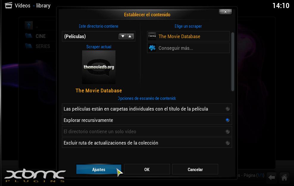 """Como incluir las Películas y Series de """"Pelisalacarta"""" en la Biblioteca de XBMC"""