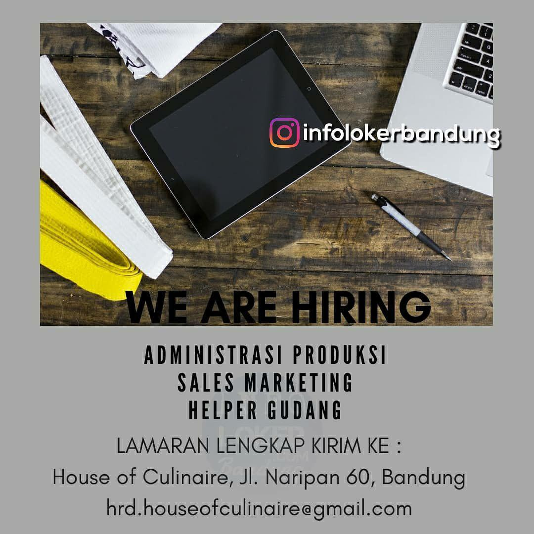 Lowongan Kerja House of Culinaire Bandung September 2018