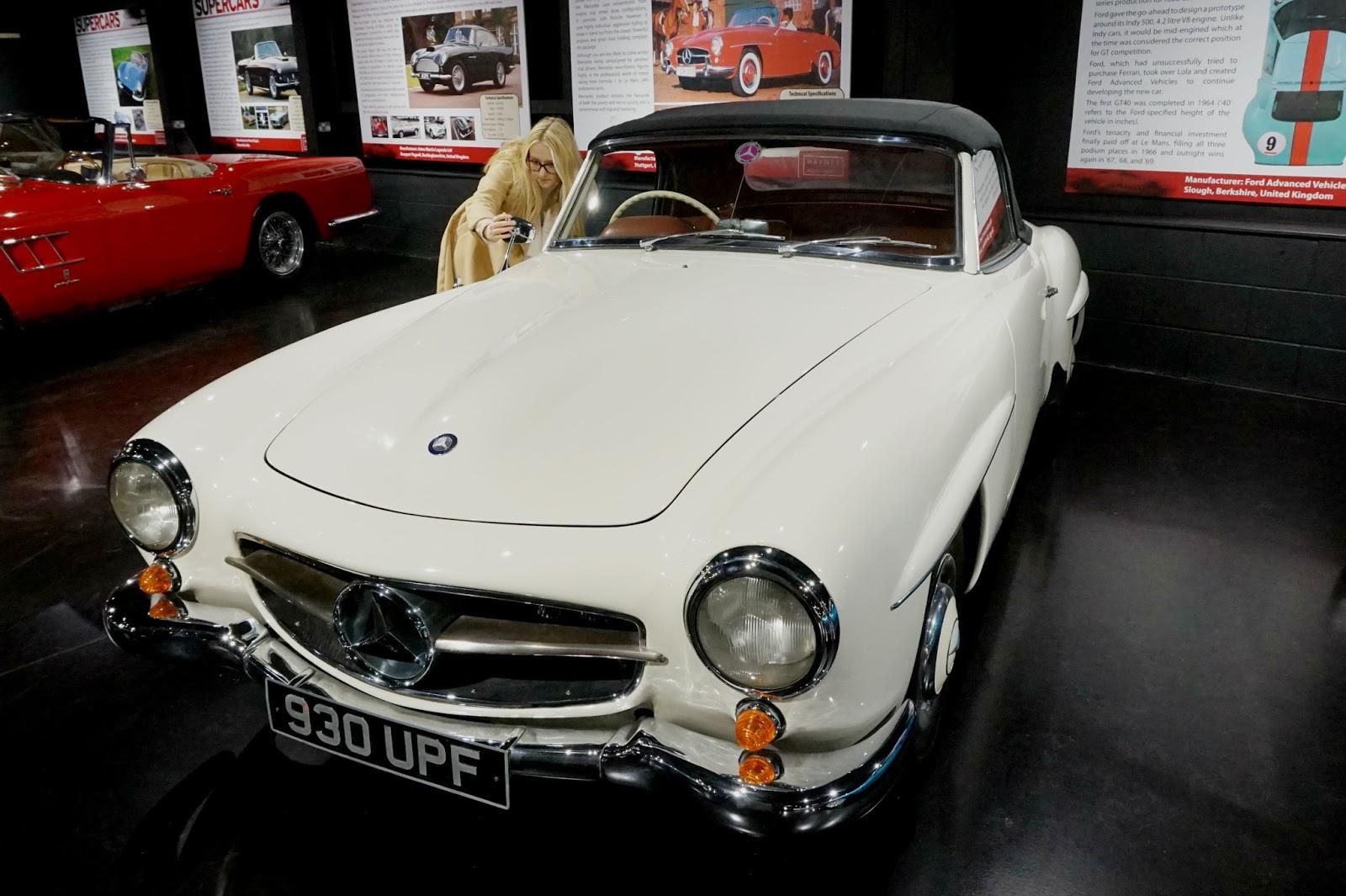 Mercedes super car classic white sports car selfie new car haynes motor museum