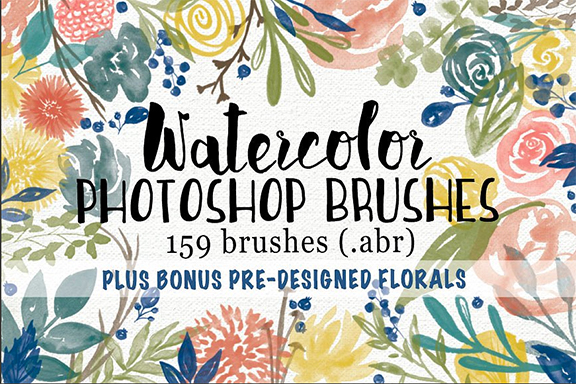 Creative Market Floral Watercolor Photoshop Brushes