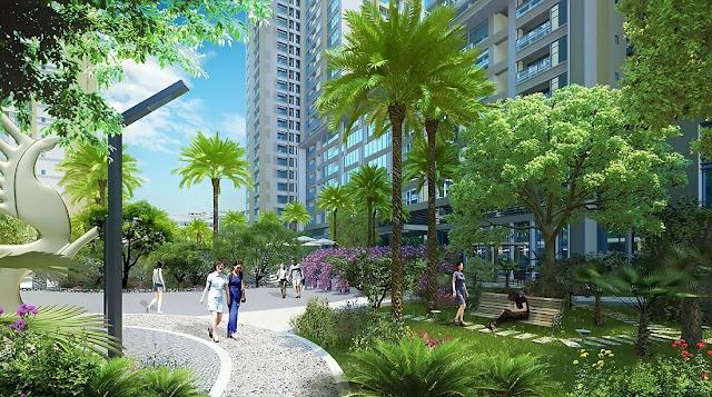 Không gian xanh mát tại dự án Green Bay Premium