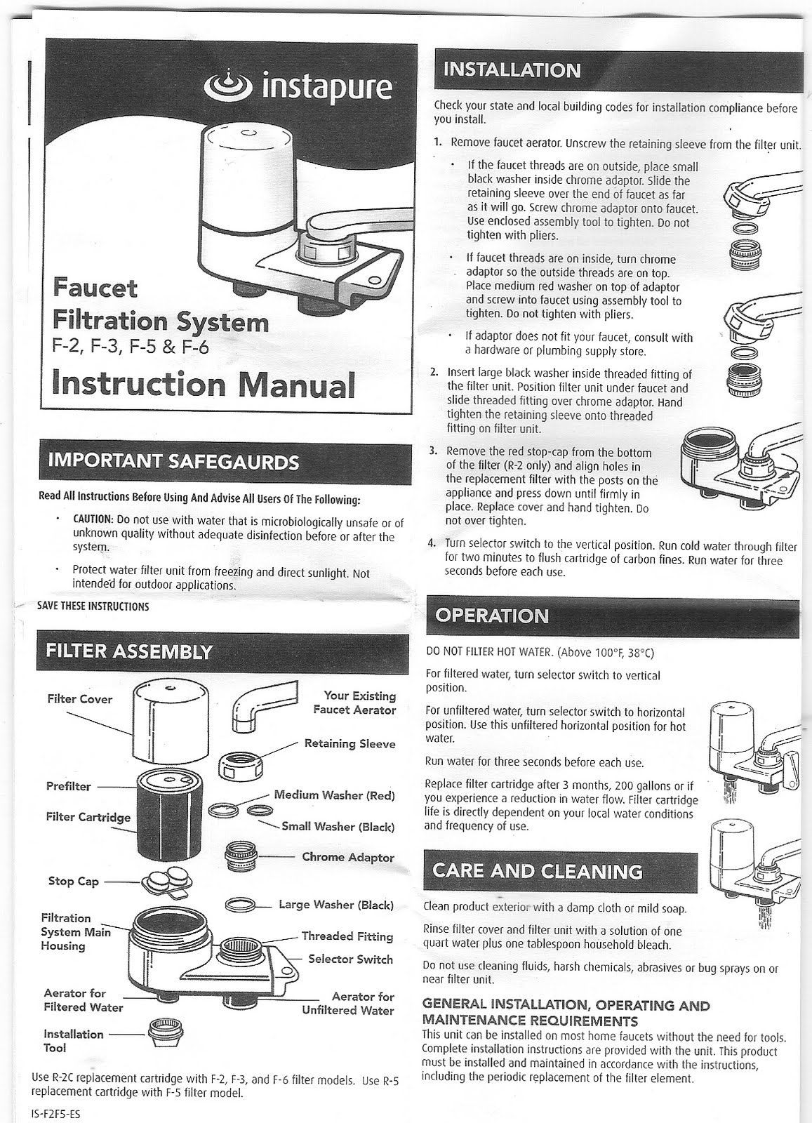 Instapure F2 Faucet Water Filter System Operating Instruction Manual Pages  1 and 2