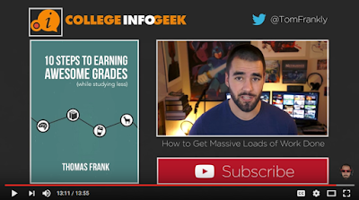 Screenshot of Frank's Youtube video with green rectangle: 10 steps to earning awesome grades. Subscribe with a red play button. Photo of his face. College infogeek. Twitter symbol @TomFrankly