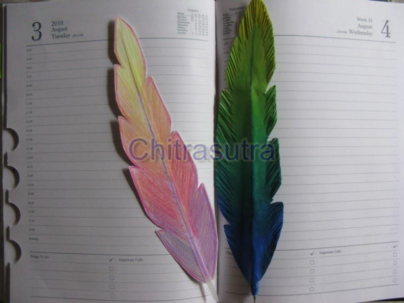 Chitrasutra: DIY:Feather pen cum bookmark Ирис Цветок
