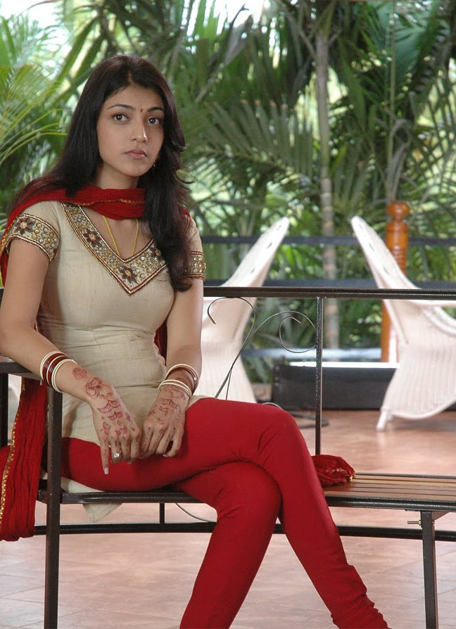 Indian Actress Kajal Agarwal Sad Looking Face Stills In Red Dress