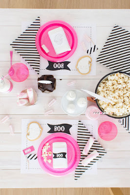 pink and black halloween table
