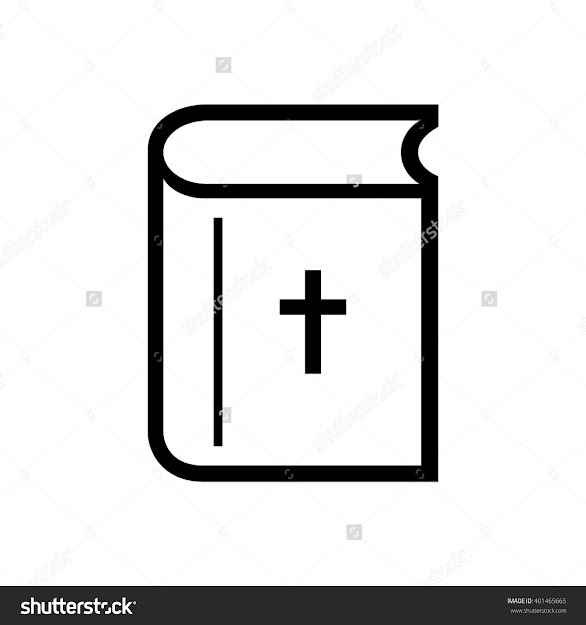 Bible Vector Icon Black And White Illustration Line Drawing